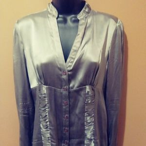 INC Silver Platinum Gray 100% Silk Medium 6 Shirt